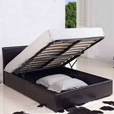 leather ottoman storage bed black brown