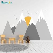 Hot Price Fa99 Mountain Woodland Wall Decal Bird Sun Baby Room Nursery Adventure Theme Removable Vinyl Wall Stickers Ba973 Cicig Co