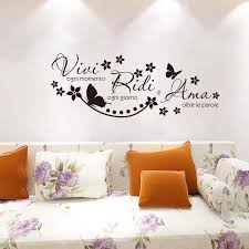 Italian Quote Vivi Ogni Momento Vinyl Wall Stickers Wall Art Decal Wallpaper Living Room Home Decor Poster House Decoration Wall Stickers Aliexpress