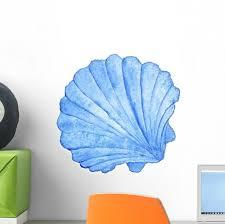 Blue Nautical Watercolor Seashell Wall Decal Wallmonkeys Com