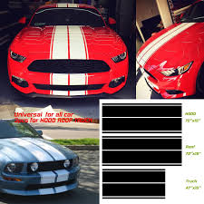 Amazon Com Universal Fit For All Cars 1set 3pairs Vinyl Racing Stripe Decal Sticker For Car Decoration Fender Hood Roof Side Trunk Skirt Bumper Of Racing Rally Stripes Stripe Graphics Decal Automotive