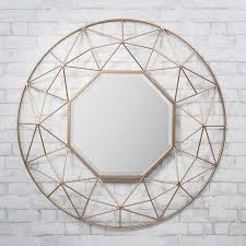 round gold metal frame wall mirror 89cm