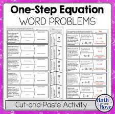 one step equation word problems cut