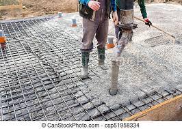 Pouring concrete slab - concrete pouring during commercial ...