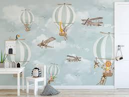 Amazon Com Murwall Kids Wallpaper Hot Air Balloon Animals Wallpaper Kids Wall Mural Airplane Wall Art Nursery Wall Decor Boys Bedroom Girls Bedroom Playroom Handmade