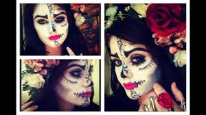 sugar skull half face makeup hair and