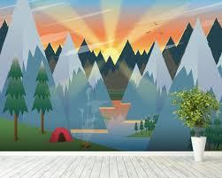 Camping Wall Mural Wallsauce Uk Kids Room Murals Playroom Mural Mural