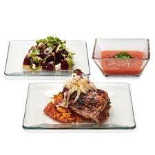 clear glass dinnerware set