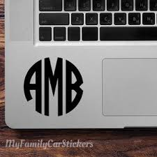 Laptop Monogram Decal Laptop Monogram Sticker Laptop Decal Etsy