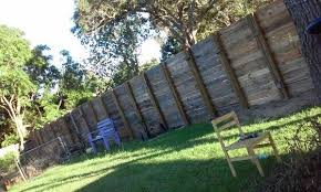 8ft Privacy Fence Made From Pallets Goodbye Neighbor Backyard Fences Pallet Privacy Fences Diy Privacy Fence