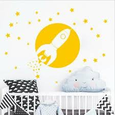 Rocket Wall Stickers Out Space Kids Room For Boys Bedroom Home Ebay