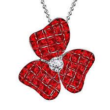 ruby and diamond flower pendant