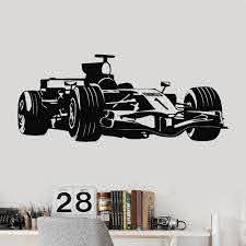 Formula 1 Race Car Garage Decor Children S Roomvinyl Wall Decal For Living Room Wall Stickers For Baby Room Boy Large Mural C666 Wall Stickers Aliexpress
