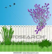 Backyard Illustration With Lilac Tree And Fence And Abstract Grass Clipart K65355330 Fotosearch
