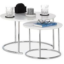 relaxdays round side tables set of 2