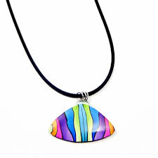 abstract rainbow pendant necklace