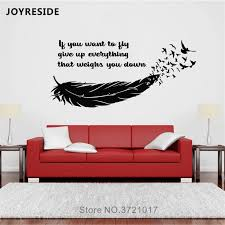 Joyreside Feather Flying Birds Wall Decal If You Want To Fly Quote Wall Sticker Vinyl Decor Home Room Decor Interior Designa1057 Wall Stickers Aliexpress