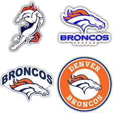 Amazon Com Denver Broncos Set Of 4 Nfl Football Decals 5 Longer Side Kitchen Dining