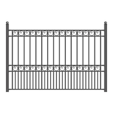Aleko Paris Style 5 Ft X 8 Ft Black Iron Fence Panel Fencepar Hd The Home Depot