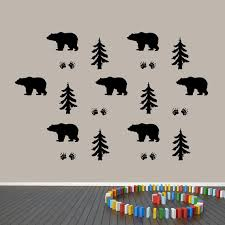 Woodland Forest And Bears Wall Decals Set Bear Tracks Bears Etsy