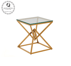 rose golden triangle shape side table 1077