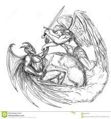 Aniola Walczacy Demon Nad Ziemskim Swiatowym Tatuazem Ilustracji