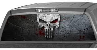 Punisher Skull Rear Window Graphic Truck Perforated Decal Camper Van Rv Ute Ebay