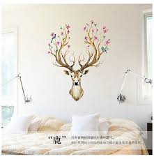 Flowered Sika Deer Head Wall Stickers Walling Shop
