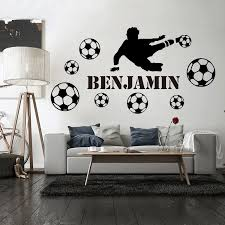 Football Custom Name Of Soccer Wall Sticker For Kids Room Decoration Boys Children Room Decor Vinyl Decal Removable Mural Decals Wall Stickers Aliexpress