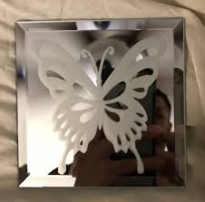 spring erfly mirror glass etching
