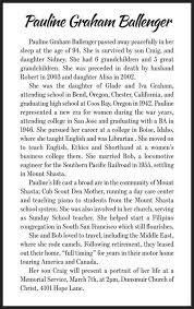 Pauline Ballenger - News - Mount Shasta Herald - Mount Shasta, CA - Mount  Shasta, CA
