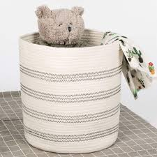 Baby Laundry Basket Woven Clothes Hampers Stripe Tall Basket For Kids Room Timeyard