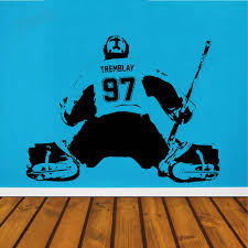 Custom Name Number Wall Decals For Boys Room Hockey Goalie Wall Sticker Jersey Home Decor Wardrobe Art Vinyl Wall Paper Y180 Wall Stickers Aliexpress