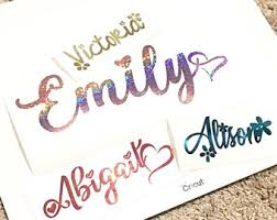 Glitter Name Decal Etsy
