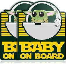 Amazon Com Super Cute Baby Yoda On Board Vinyl Decal Stickers For Car Truck Vehicle Window Or Bumper 2 Pack Arts Crafts Sewing