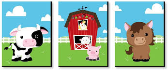 Amazon Com Big Dot Of Happiness Farm Animals Barnyard Nursery Wall Art And Kids Room Decorations Gift Ideas 7 5 X 10 Inches Set Of 3 Prints Toys Games