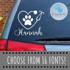 Personalized Name Vet Tech Decal Gift For Veterinarian Vet Etsy