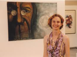 Alana Lewis with artwork at Central Coast Campus art exhibition [n.d.] |  Living Histories