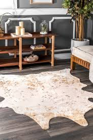 off white macchiato faux cowhide rug