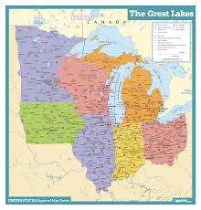 Great Lakes States Wall Map