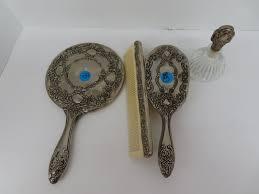 4pc vintage silver tone mirror brush