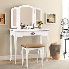 white vanity set trifold mirrors makeup