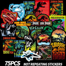 75pcs Jurassic Park Dinosaurs Stickers Vinyl Decal Car Skateboard Luggage Laptop Ebay