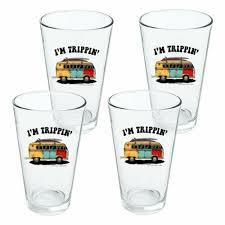 drinking glass set im trippin retro