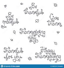 a set of handwritten phrases and quotes for thanksgiving day stock