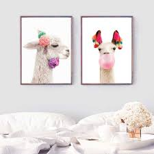 Llama Print Baby Alpaca Wall Art Canvas Painting Nordic Nursery Animal Photography Poster Baby Room Wall Picture Decoration Painting Calligraphy Aliexpress