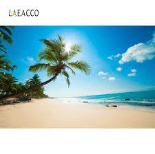 Laeacco الصيف الاستوائية خلفيات شاطئ البحر الرمال غائم السماء