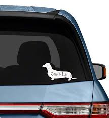 Dog Car Decal Dachshund Sweet And Low Cute Vinyl Sticker Etsy