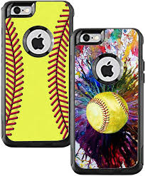 Amazon Com Teleskins Protective Designer Vinyl Skin Decals Compatible With Otterbox Commuter Iphone 6 Plus Iphone 6s Plus Case Softball And Vintage Softball Design Pack Of 2 Skins Only Skins