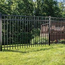 Freedom Heavy Duty Concord 5 Ft H X 8 Ft W Black Aluminum Flat Top Decorative In The Metal Fence Panels Department At Lowes Com